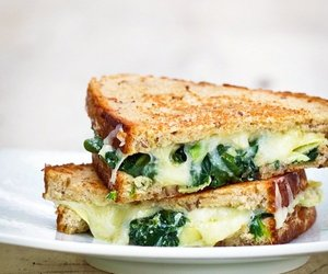 food, sandwich, and spinach image