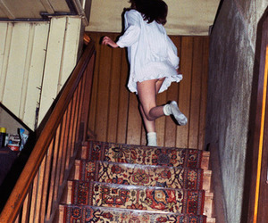 girl, stairs, and run image