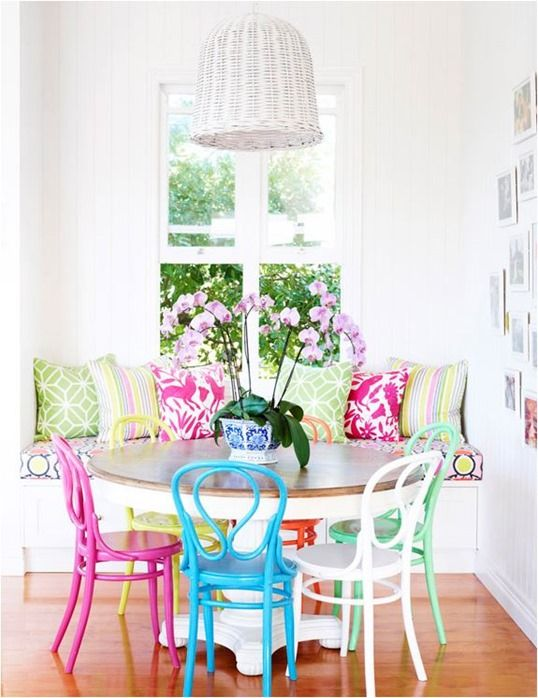 Mix Matched Brightly Colored Chairs In The Dining Gorgeous S