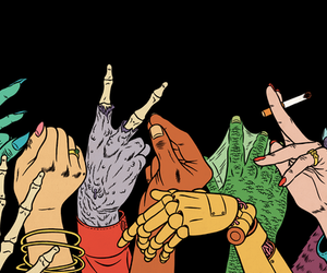 hands, monster, and cigarette image