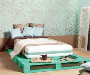 bed, bedroom, and pallet image