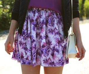 flower print, outfit, and skirt image