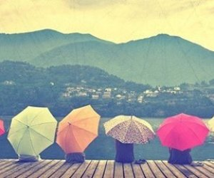 mountains and umbrella image