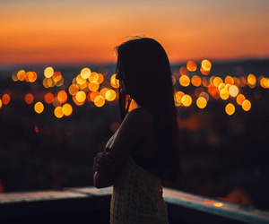 girl, lights, and city image