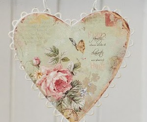 heart, vintage, and floral image