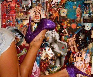 heels, tattoo, and purple image