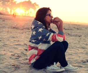 girl, beach, and usa image