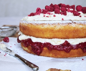 cake, raspberry, and vanilla image