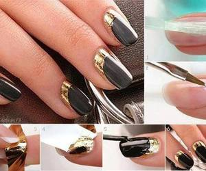black, gold, and nail image