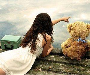 girl, teddy, and bear image