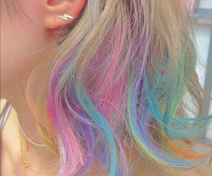 hair, rainbow, and pastel image