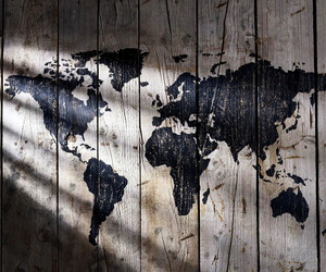 world, map, and wood image