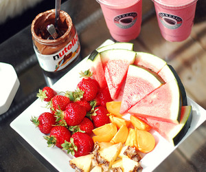 fruit, strawberry, and watermelon image