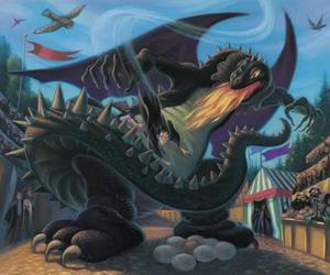 harry potter, dragon, and book image