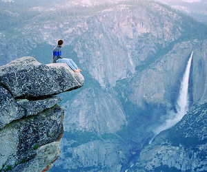 alone, mountains, and waterfall image