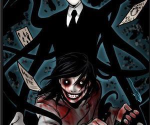 jeff the killer, slenderman, and creepypasta image
