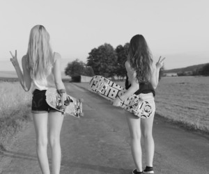 girls, black n' white, and skateborad image