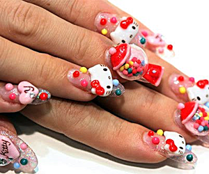 hello kitty, nails, and nail art image