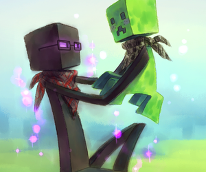creeper, minecraft, and enderman image