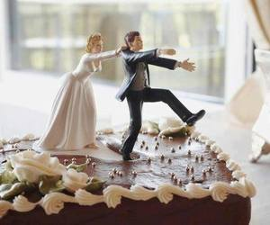 bride, cake, and funny image