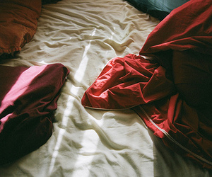 bed, photography, and red image