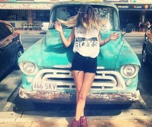 girl, car, and boy image