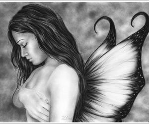 black and white, draving, and feriy.. image