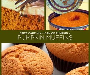 pumkin muffins, two ingredients, and spice cake mix image