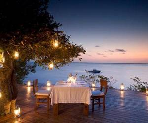 dinner, romantic, and sea image