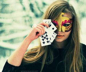 girl, mask, and cards image