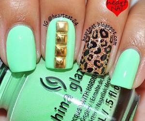 leopardo, verde, and nailart image