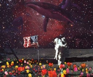 cosmonaut, space, and flowers image