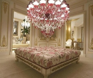 luxury, chandelier, and pink image
