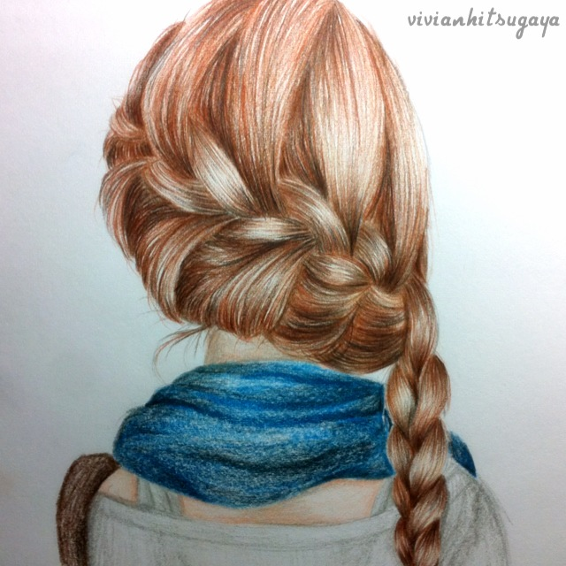 Drawing Hair Braid On We Heart It - Drawing a hairstyle