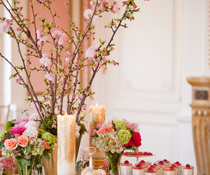 flowers, cake, and candles image