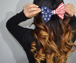 hair, bow, and usa image