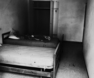 bed, creepy, and black and white image
