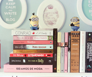 book, minions, and pink image