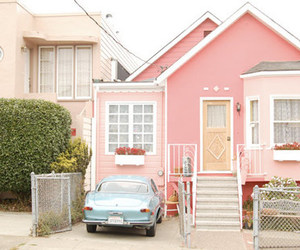 pink, house, and car image