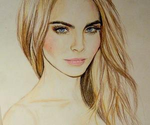 drawing, model, and cara delevingne image
