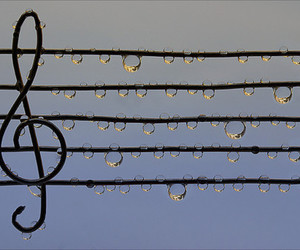 music, rain, and water image