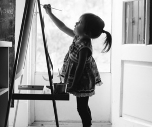 child, black and white, and painting image