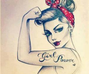 art, girl, and rosie the riveter image