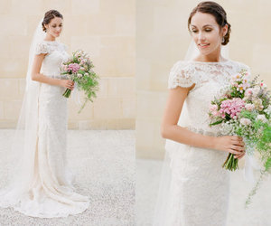 ball gown, bridal gown, and lace image