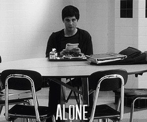 alone, logan lerman, and black and white image