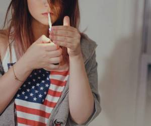 girl, smoke, and usa image