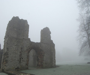 architecture, castle, and fog image