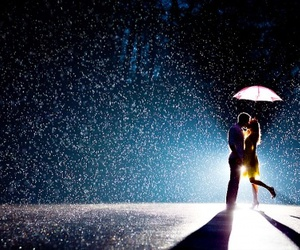 love, rain, and kiss image