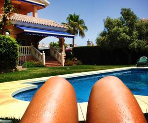 girl, legs, and pool image