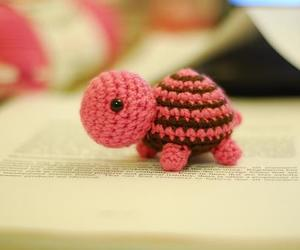 turtle, pink, and crochet image